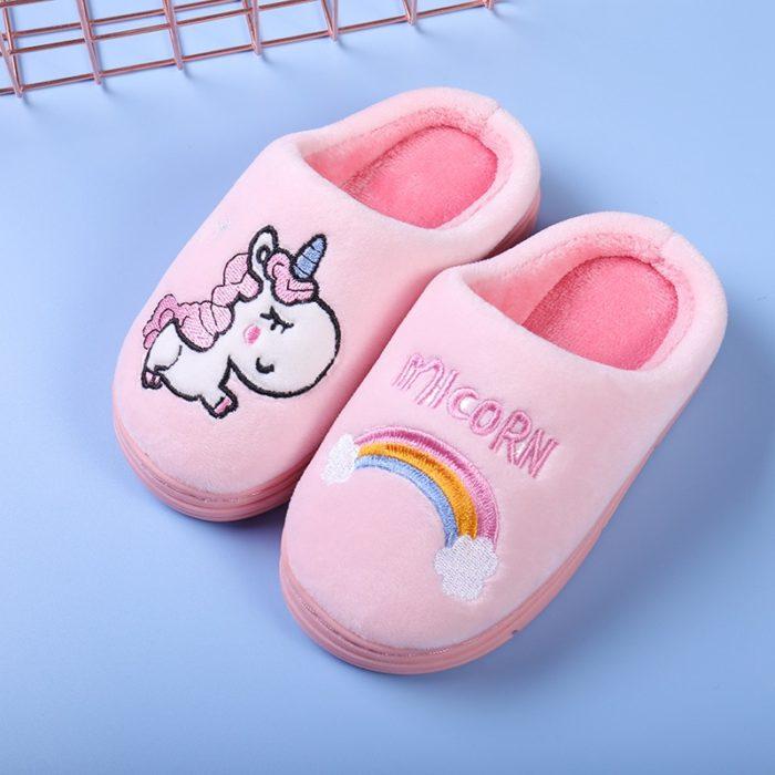 Unicorn Slippers Kids Fluffy Footwear