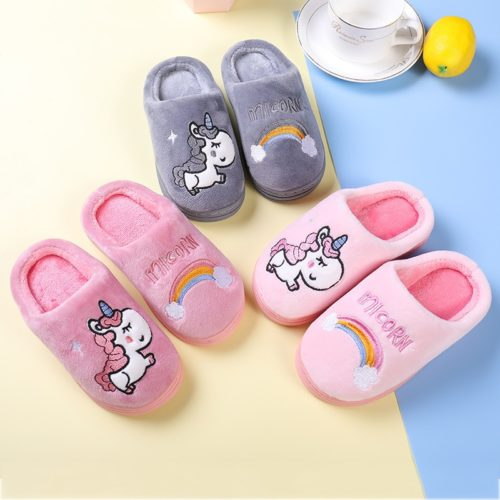 Unicorn Slippers Kids Fluffy Footwear