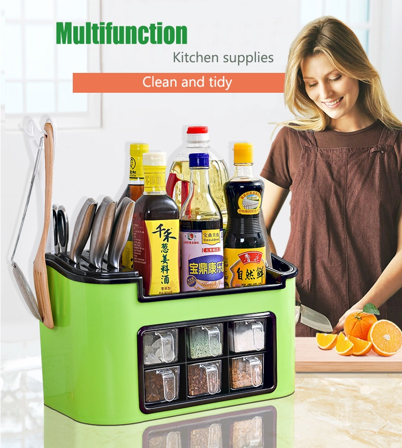 Kitchen Cabinet Organizer Utensils Spice Storage