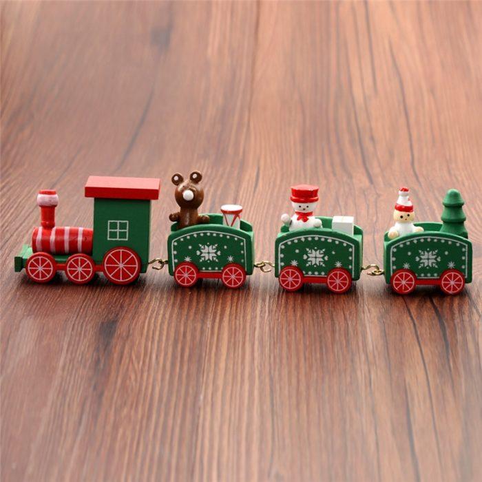 Christmas Train Decoration Painted Wood