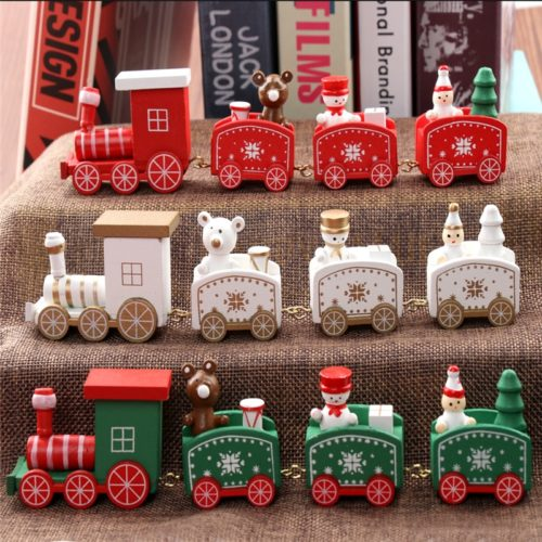 Christmas Train Decoration Painted Wood