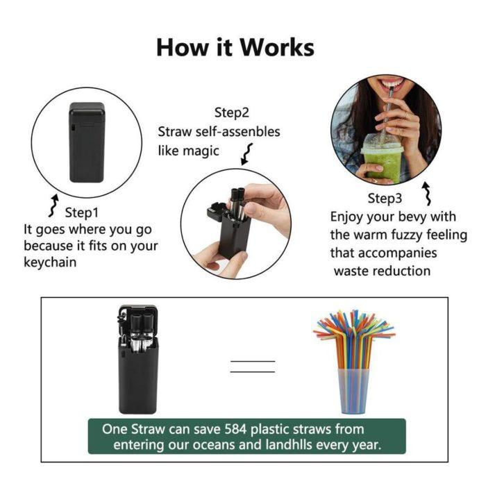 Reusable Drinking Straws Foldable Metal Straw