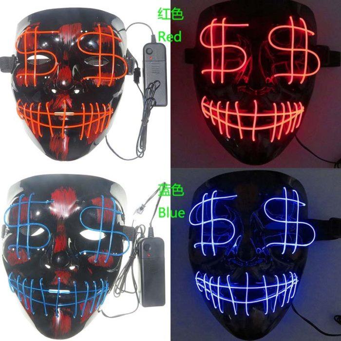 LED Halloween Mask Luminous Dollar Mask