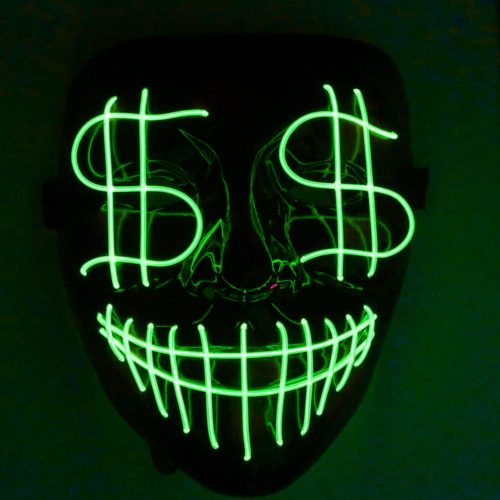 LED Halloween Mask Luminous Dollar Mask