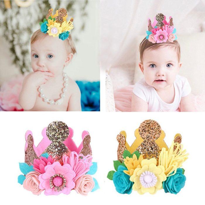 Birthday Hat Kids Flower Headband