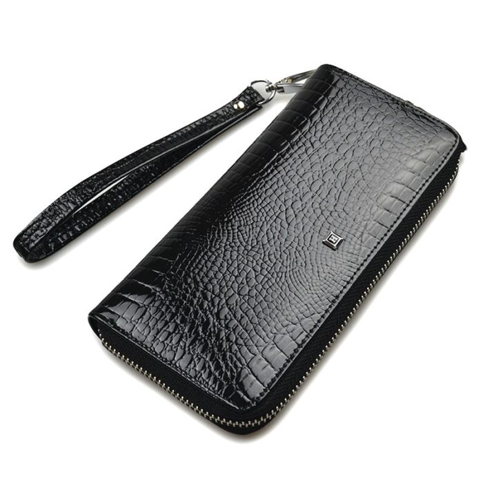 Long Leather Wallet With Coin Pocket