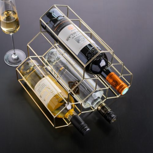 Metal Wine Rack Nordic Geometric Design