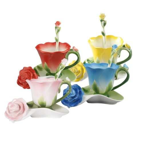 Tea Cup And Saucer Creative Flower Shape