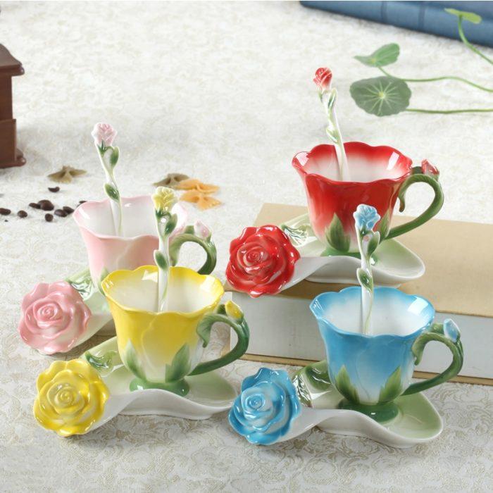 Tea Cup And Saucer Creative Flower Shape