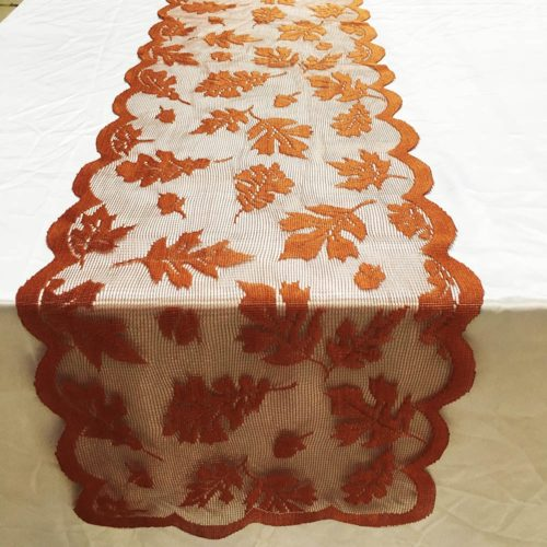 Fall Table Runner Lace Decor
