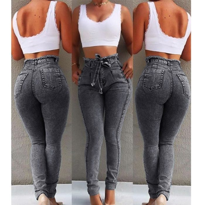 Ladies High Waisted Jeans Slim Denim