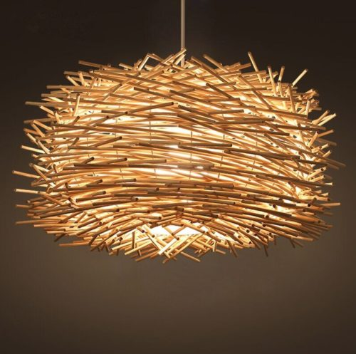 Rattan Pendant Light Modern Bird's Nest Design