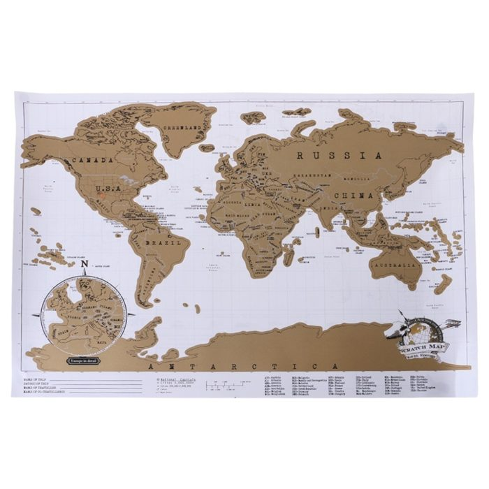 Scratch Off World Map Travel Poster
