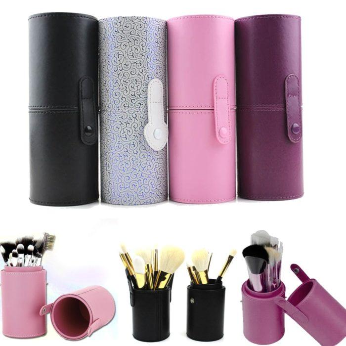 Makeup Brush Storage Leather Case