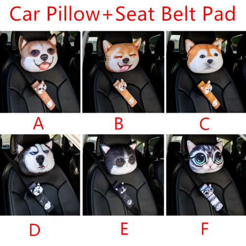 Car Headrest Pillow with Seatbelt Cover