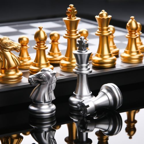 Magnetic Chess Set Gold Silver Pieces