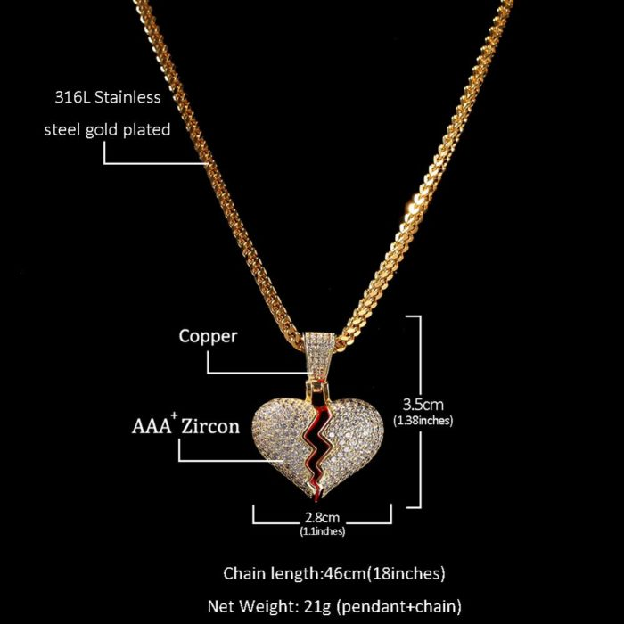 Broken Heart Necklace Fashionable Jewelry