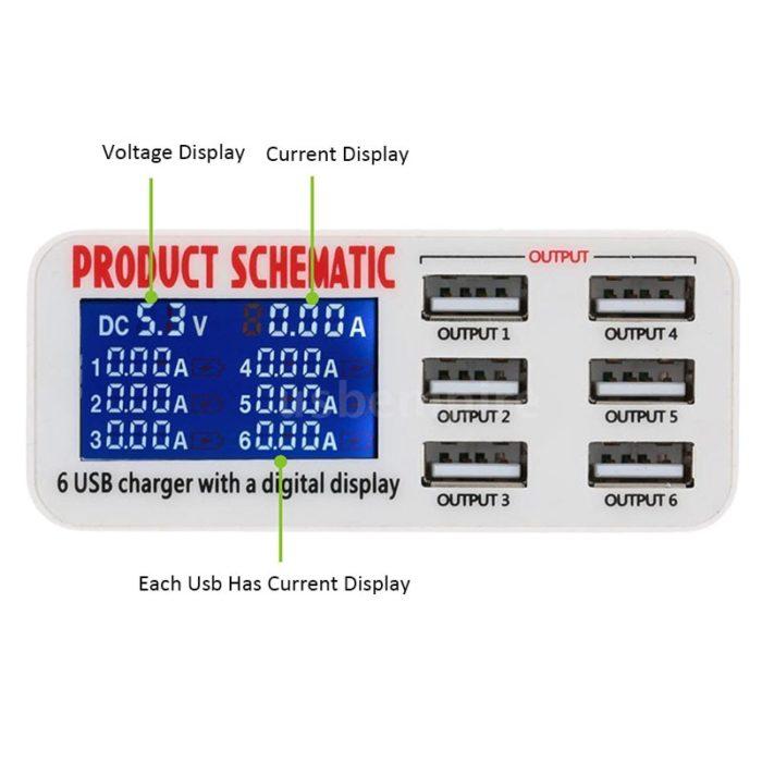 Multi Port USB Charger 6-Slot Plug