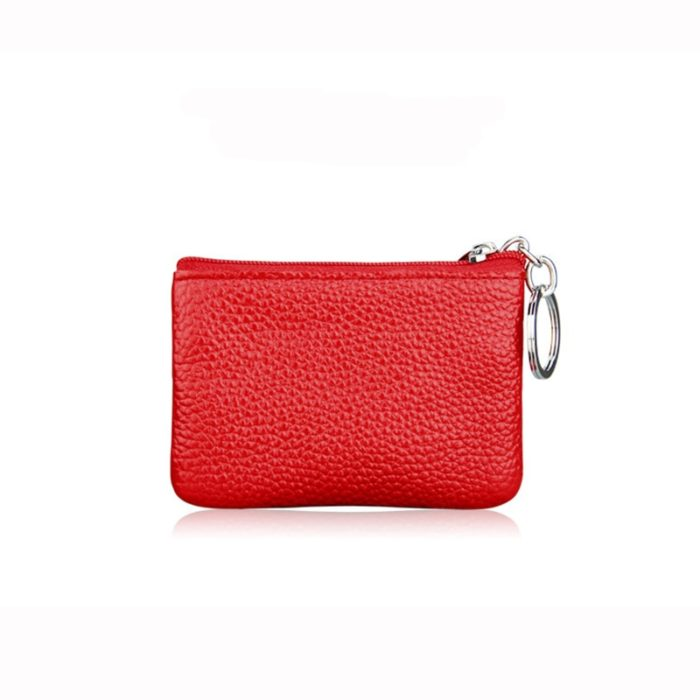 Leather Coin Purse Keyring Wallet