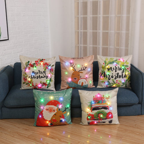 Christmas Cushion Cover LED Lights