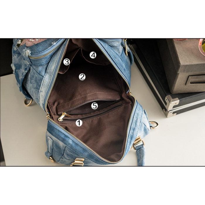 Denim Backpack School Knapsack