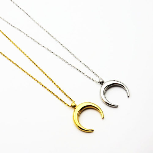 Half Moon Necklace Stainless Steel Necklace