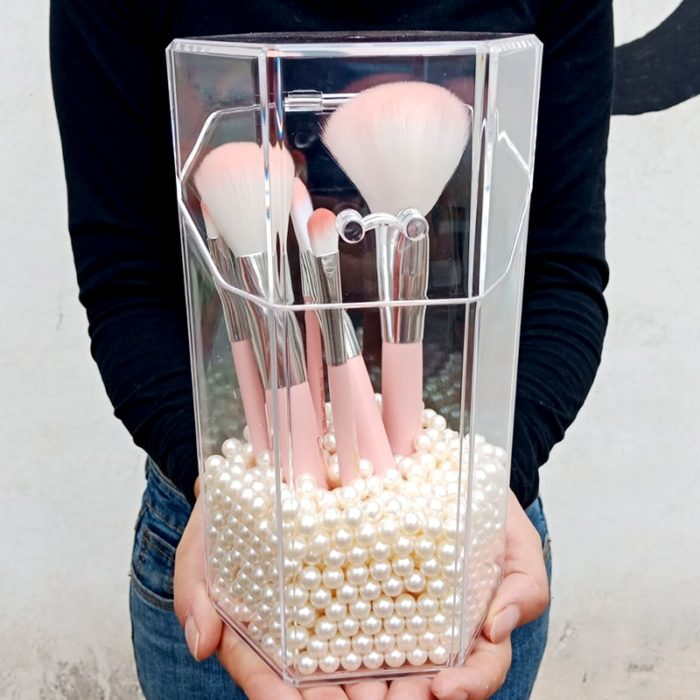 Makeup Brush Organizer with Pearl Beads