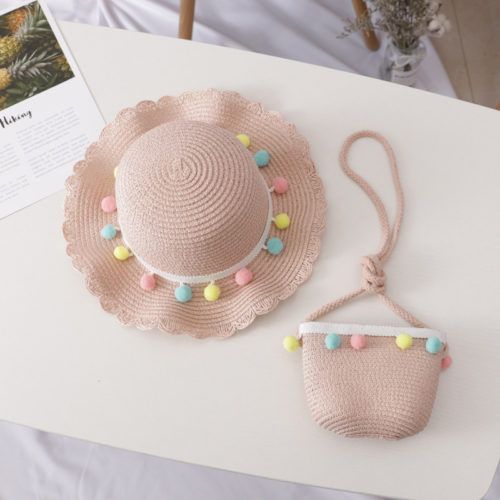 Girls Sun Hat and Shoulder Bag Set