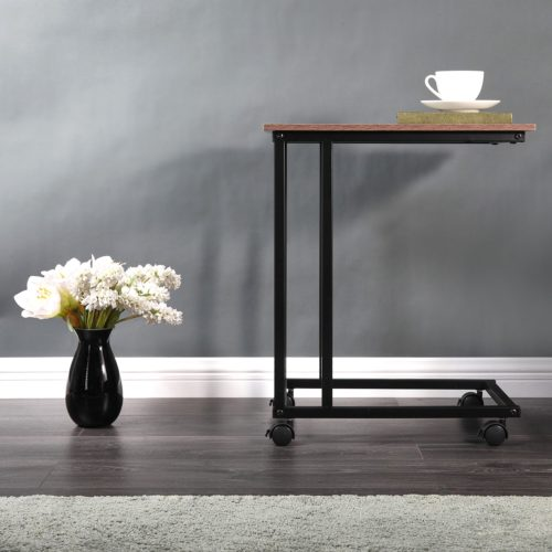 Couch Side Table with Wheels