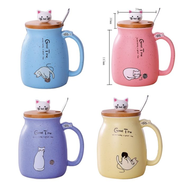 Ceramic Coffee Mug with Lid Cat Design