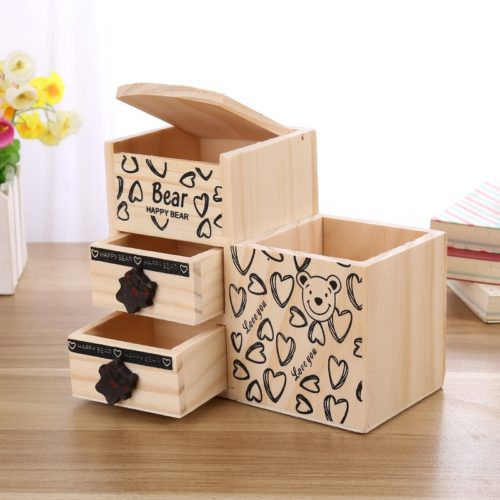 Wooden Desk Organizer Cute Pen Holder