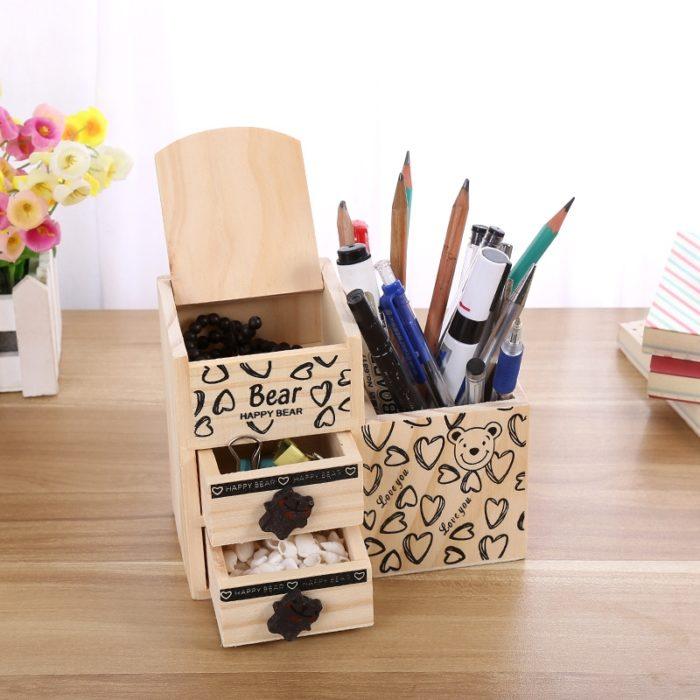 Wooden Desk Organizer Cute Pen Holder