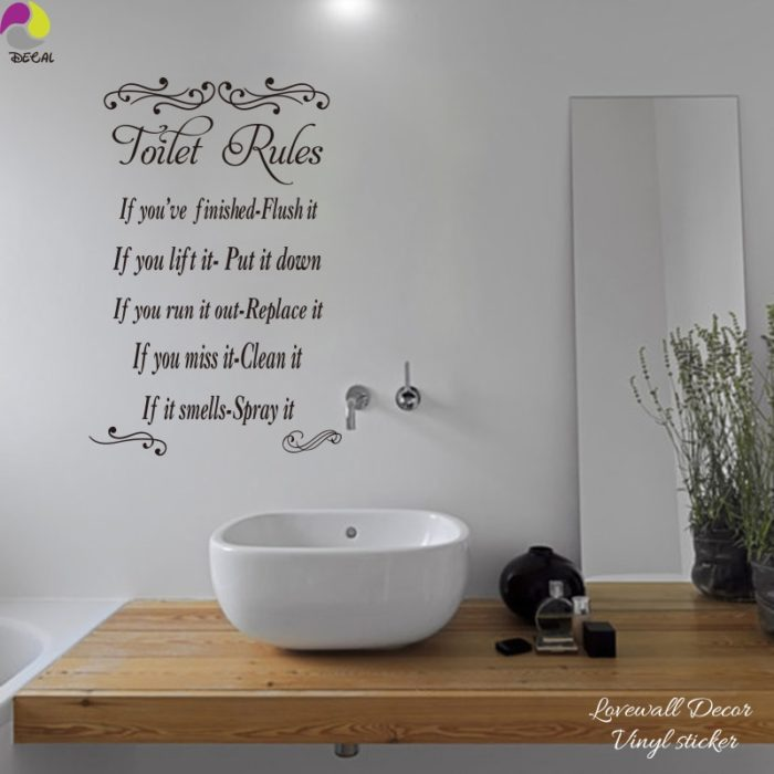 Toilet Stickers Bathroom Rules Wall Sticker