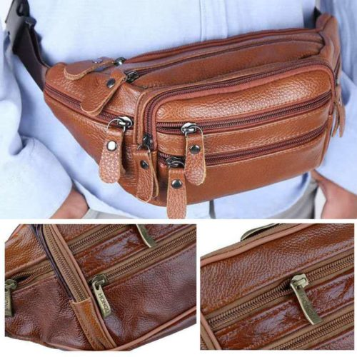 Leather Waist Bag Men's Vintage Bag