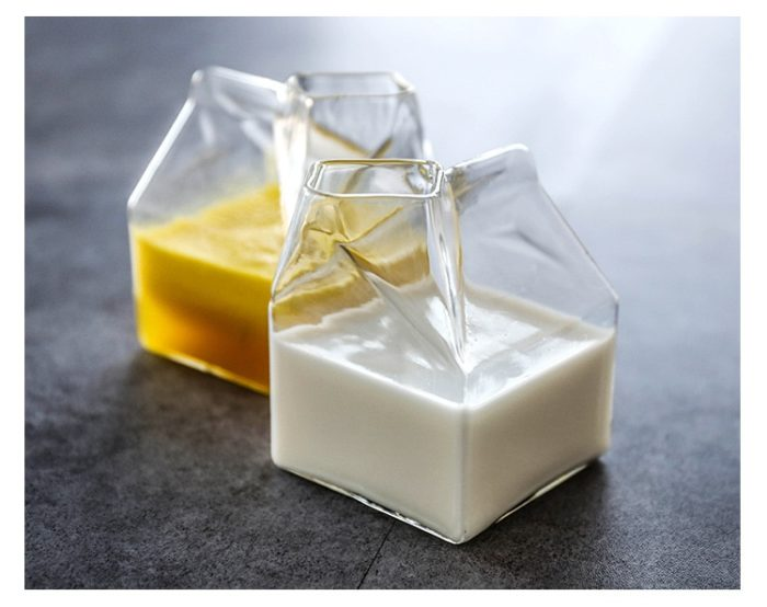 Creative Glass Milk Box Design