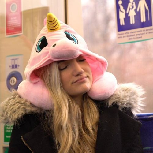 Neck Pillow With Hood Unicorn Design