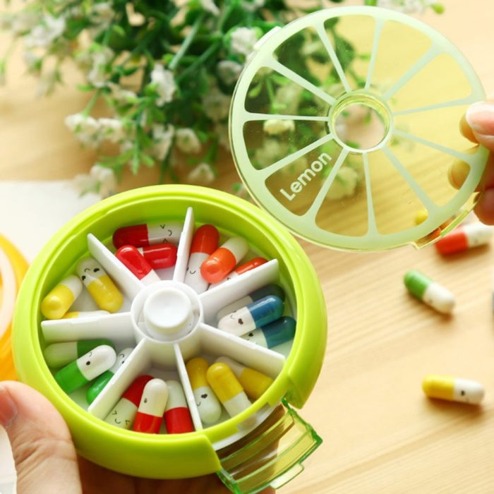 Weekly Pill Box Round Container