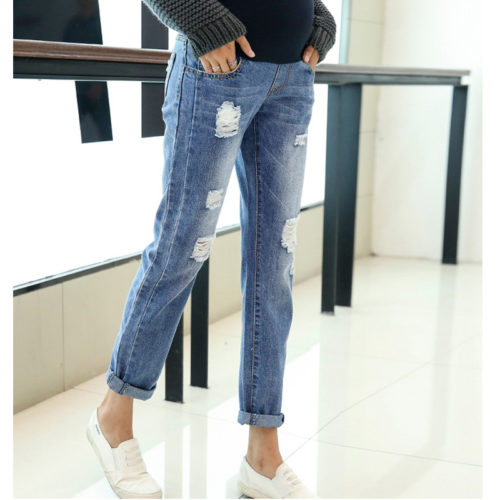 Maternity Jeans Stylish Tattered Pants