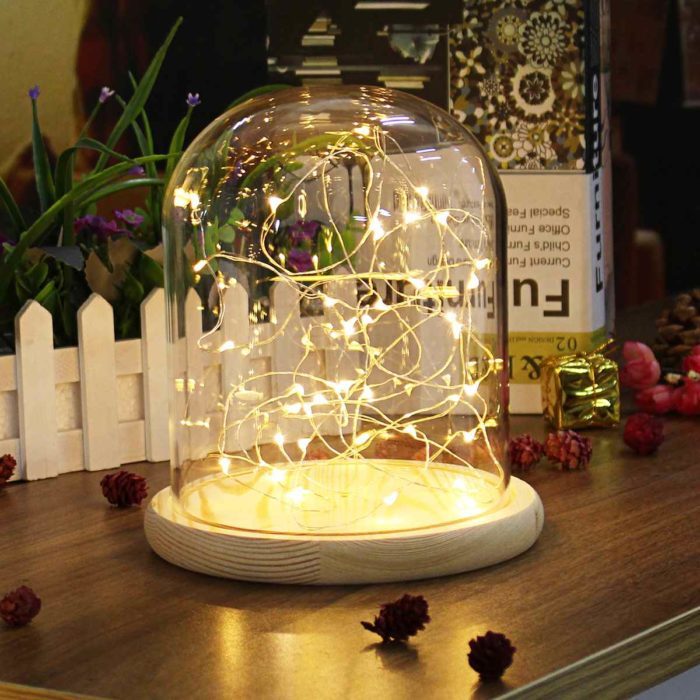 Glass Dome with Base with LED Fairy Lights