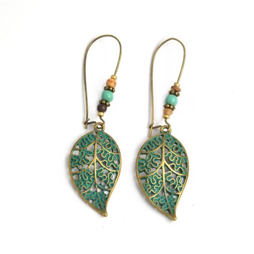 Leaf Earrings Rustic Drop Dangle