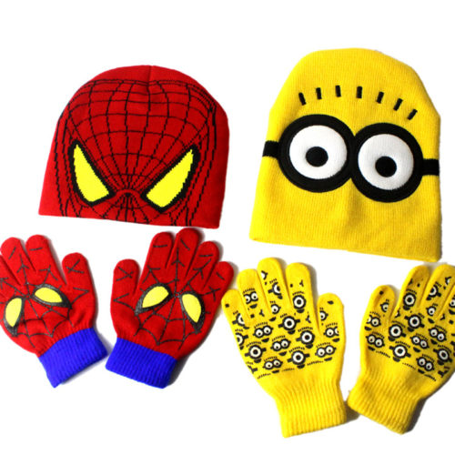 Kids Hat and Gloves Cartoon Design