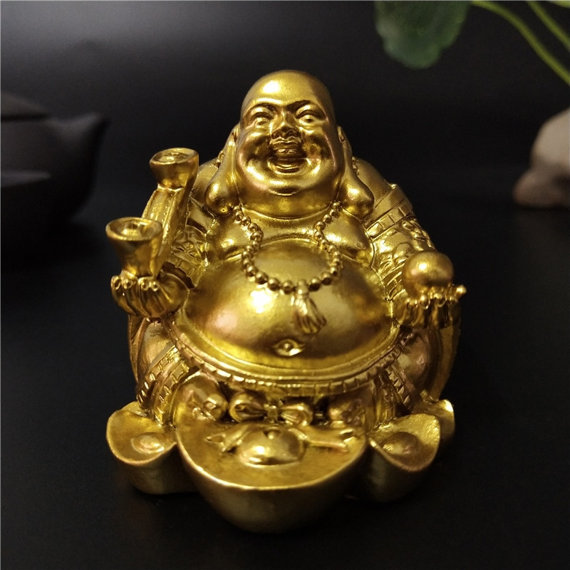 FREE CHAIN FREE GIFT BAG Unisex Gold Colored Buddha Spinner