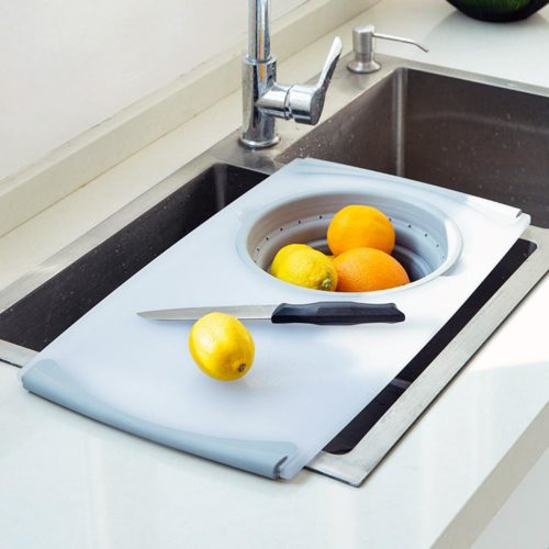Sink Cutting Board with Strainer