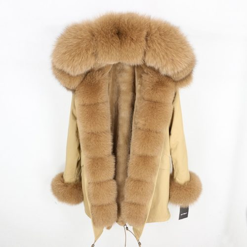 Winter Fur Coat Ladies Parka With Hood