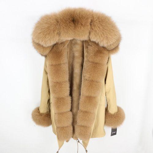 Winter Fur Coat Ladies Parka With Hood