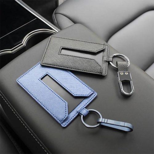 Key Card Holder Leather Keychain