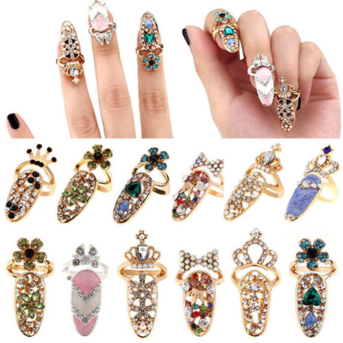 Nail Ring 1PC Alloy Rhinestone Charm