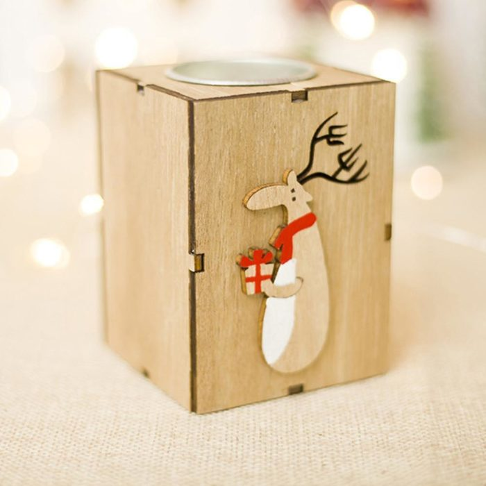 Christmas Candle Holder Wooden Décor