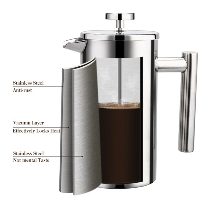 Coffee Plunger Steel French Press