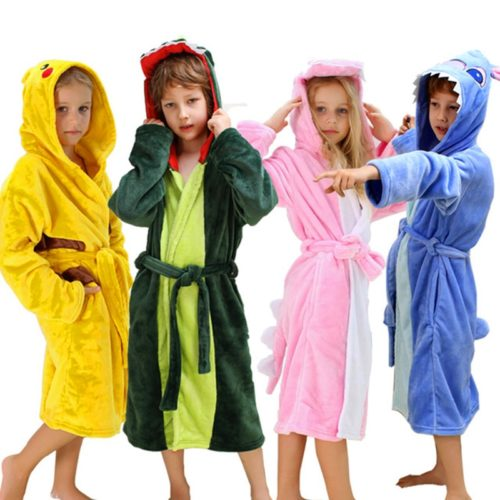 Kids Bath Towels Hooded Polyester Bathrobes